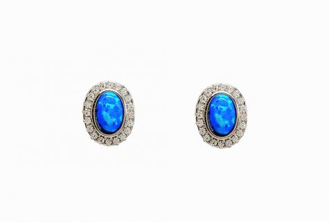 cercei ovali cu opal albastru