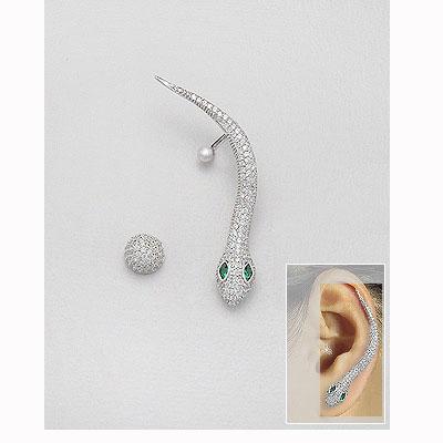 cercei argint ear cuff sarpe