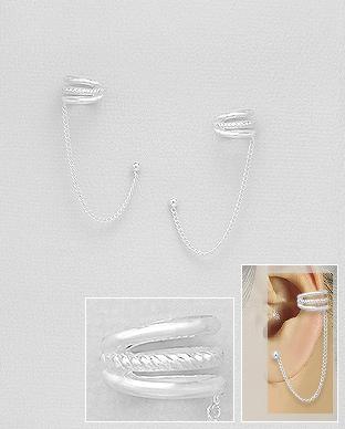 cercei ear cuff cu spirale si lant argint
