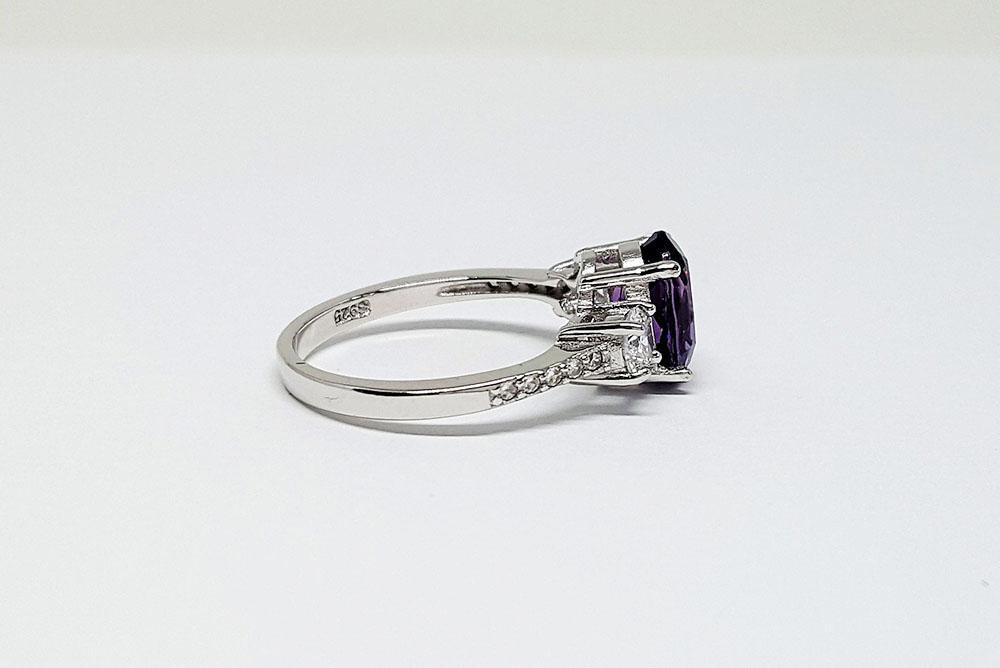 inel de logodna argint rodiat ametist