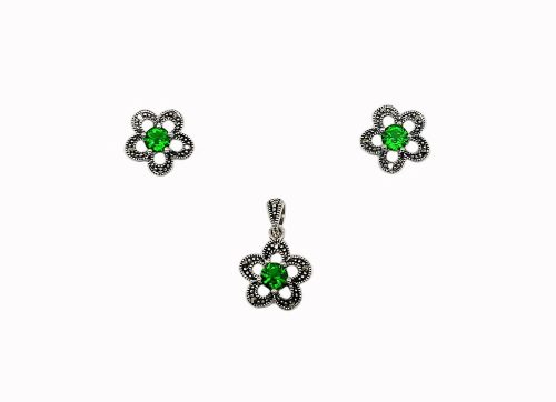 set flori argint zirconii verzi