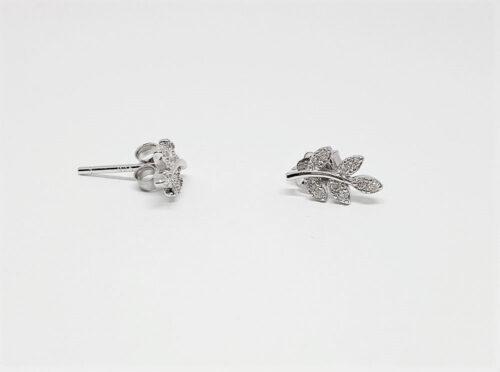 cercei frunze din argint cu zircon