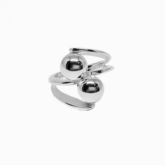 inel argint cu bobite