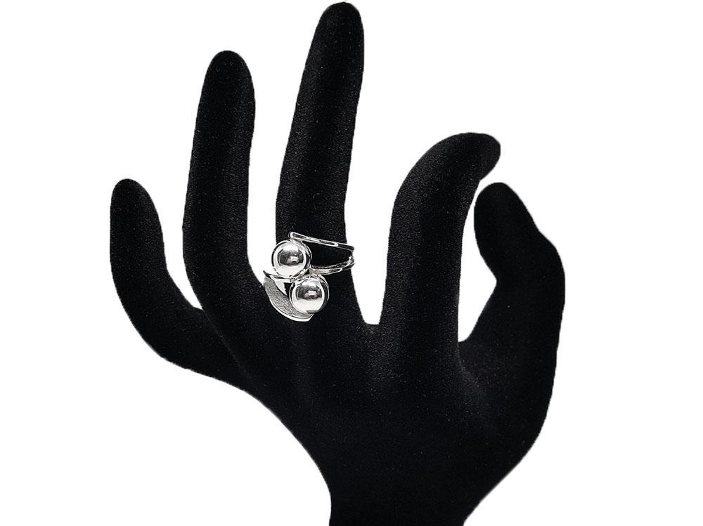 inel din argint geometric
