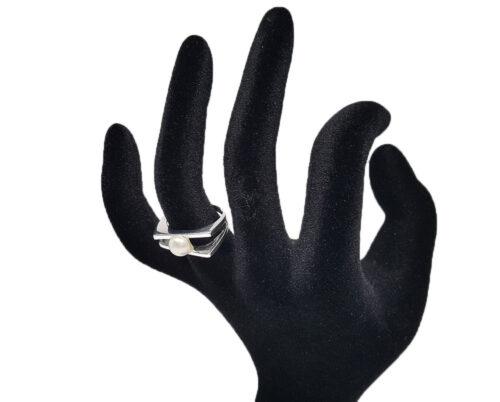 inel argint cu perla alba