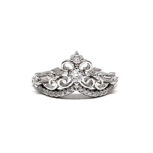 inel coroana argint cu zirconii