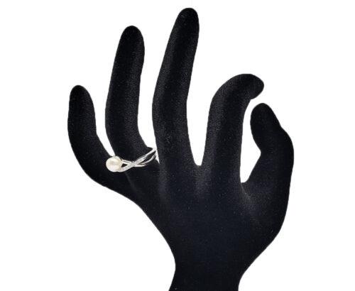 inel fin din argint cu perla alba