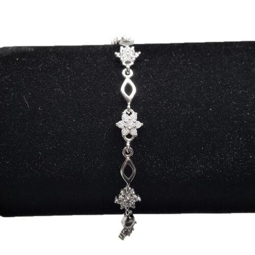 bratara argint cu flori din zircon