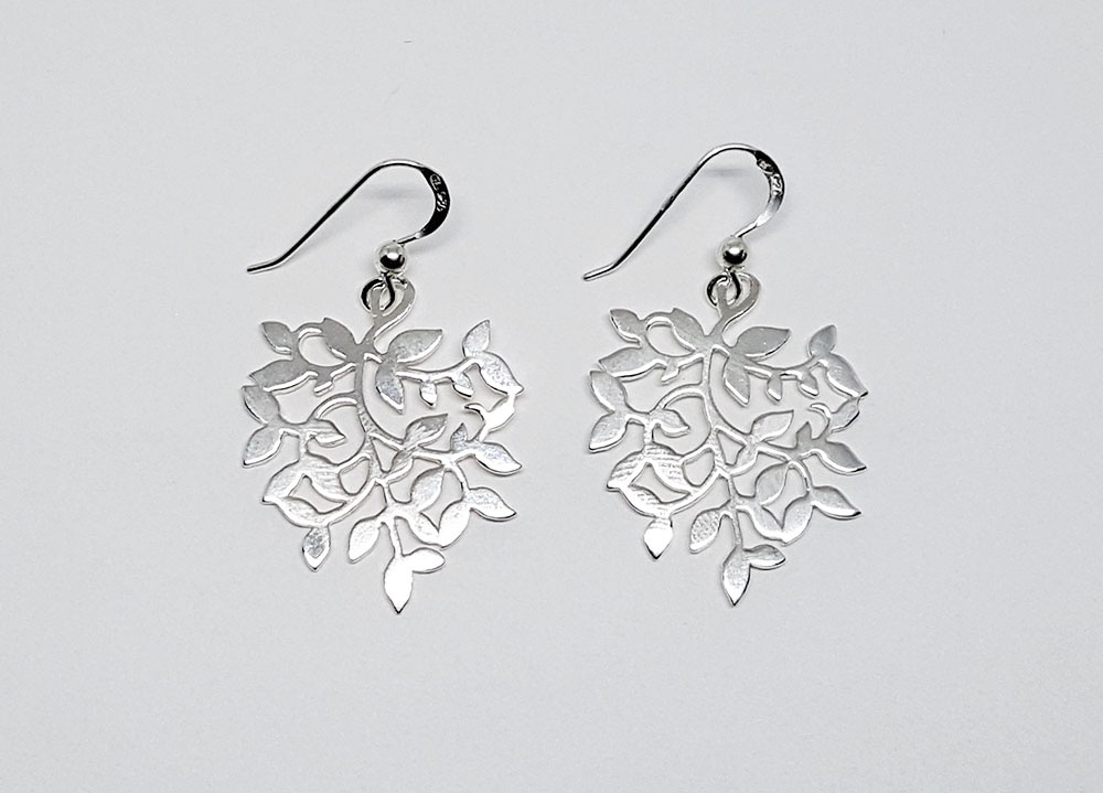 cercei mari din argint cu frunze