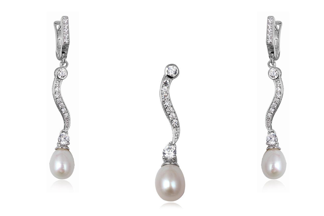 set mireasa din argint cu perle
