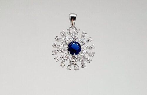 pandantiv floare albastra argint