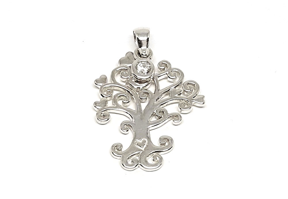 pandantiv argint copac cu inimi