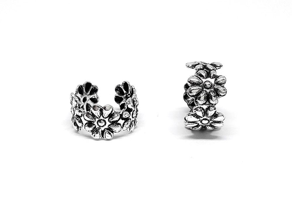 cercei ear cuff argint cu flori