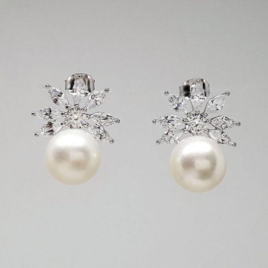 cercei cu flori de zircon si perle