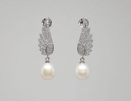 cercei aripi de inger cu perle