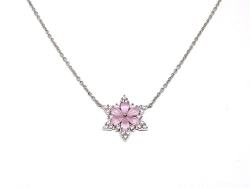 colier argint cu floare roz
