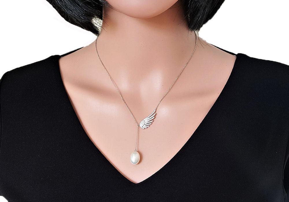 colier din argint cu perla si zirconii