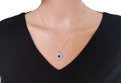 pandantiv argint rodiat floare albastra