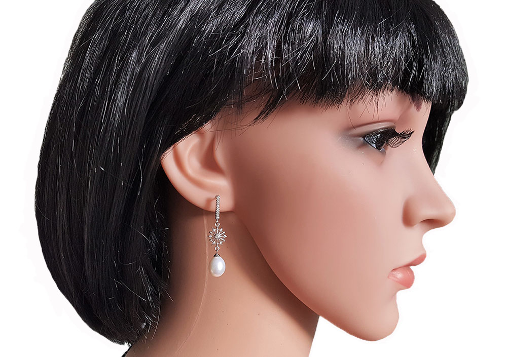 cercei lungi cu perle naturale