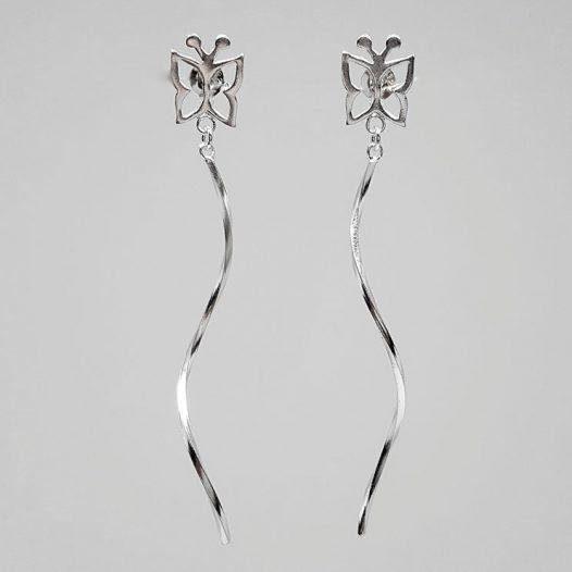 cercei lungi din argint cu fluturi