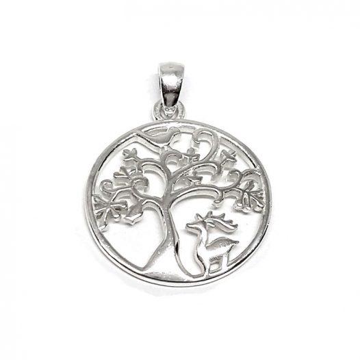medalion din argint copac
