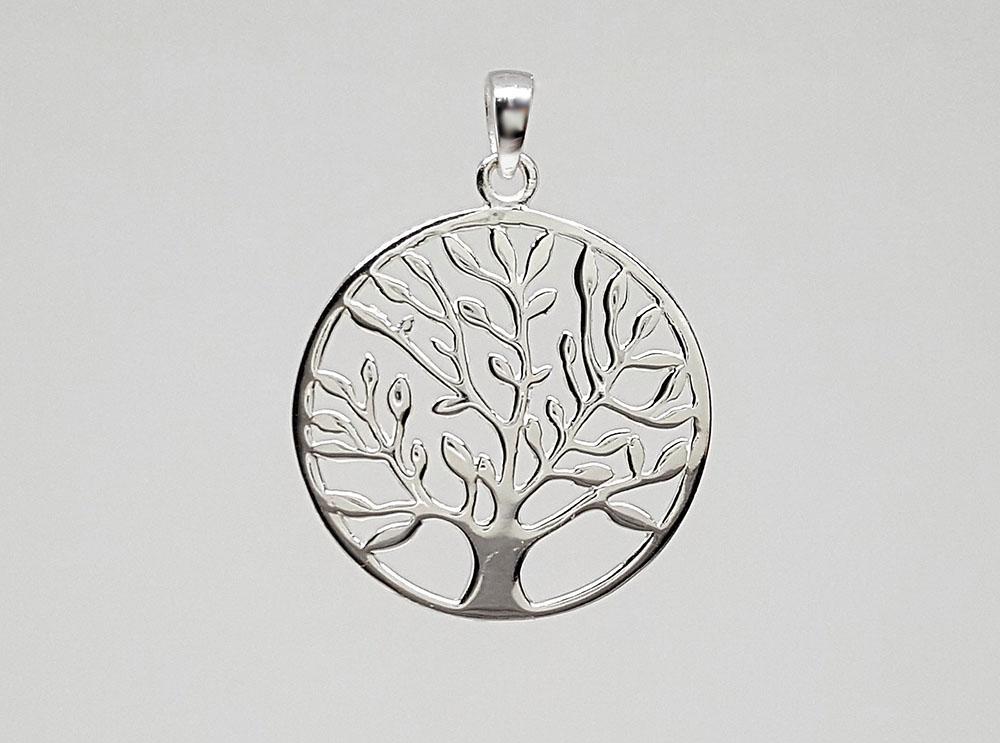 pandantiv copac cu frunze din argint