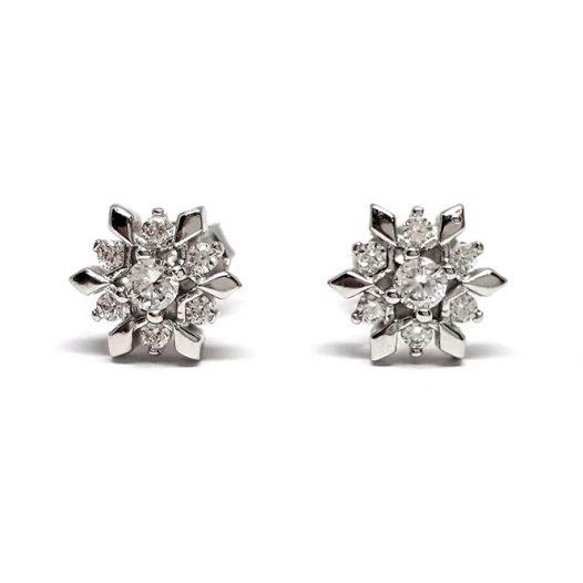 cercei flori de zapada argint