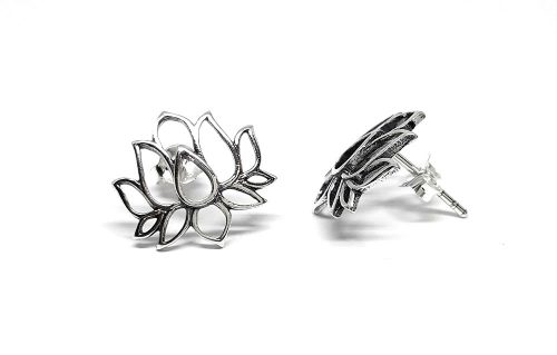 cercei flori de lotus argint