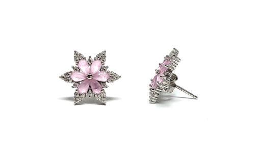 cercei flori superbe cu zirconii roz
