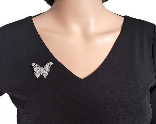 brosa fluture din argint cu zirconii