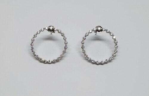 cercei argint rodiat cu cercuri