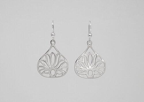cercei lungi din argint floare de lotus