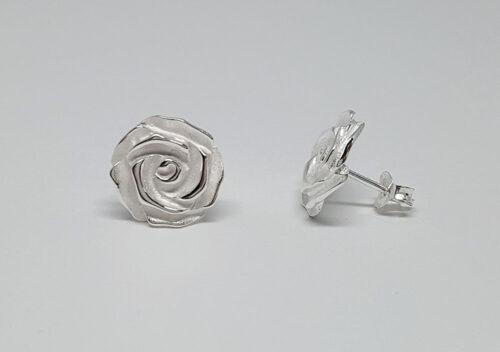 cercei trandafiri superbi argint mat