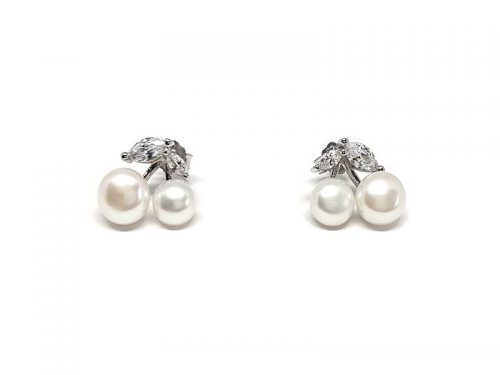 cercei cirese cu perle si zirconii