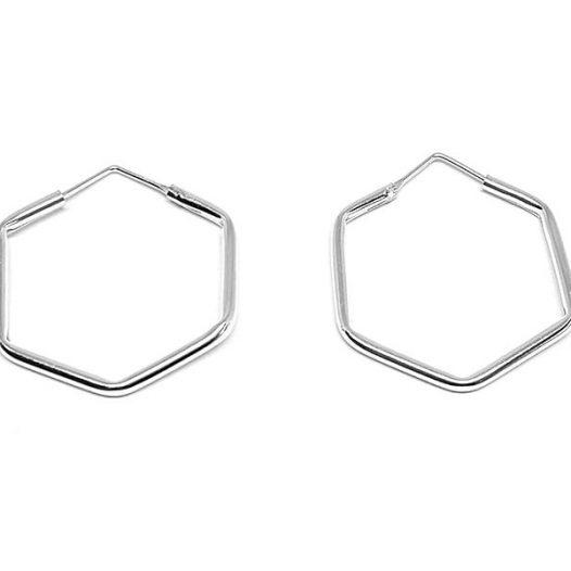 cercei creole hexagon din argint