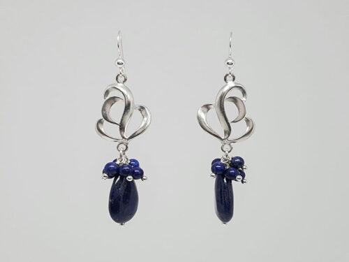 cercei eleganti din argint si lapis lazuli