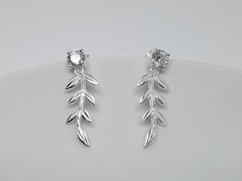 cercei fini cu frunze din argint