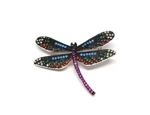 brosa fluture cu zirconii multicolore