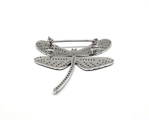 brosa fluture colorat din argint