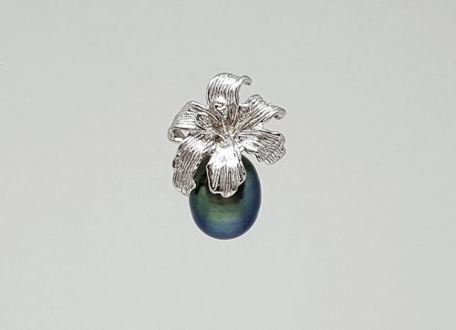 pandantiv argint rodiat cu perla neagra