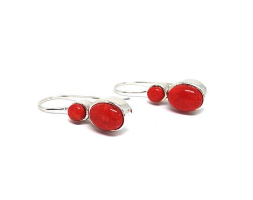 cercei cu pietre ovale rosii