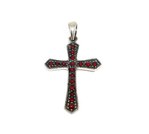 pandantiv cruce argint cu pietre