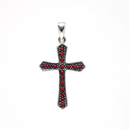 pandantiv cruce rosie din argint