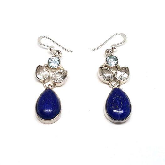 cercei lungi cu topaz si lapis lazuli