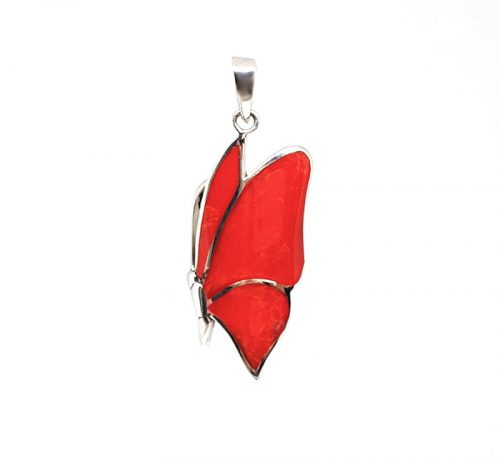 fluture din argint cu aripi rosii