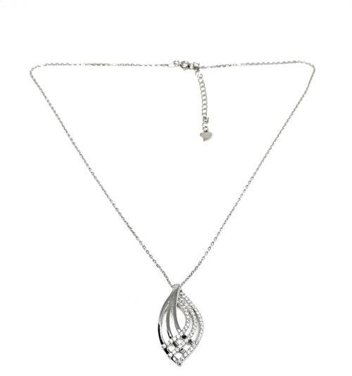 lant din argint cu pandantiv frunza