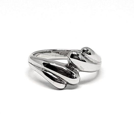 inel din argint rodiat cu valuri