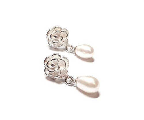 cercei trandafiri si perle