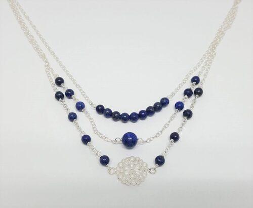colier cu trei siraguri si lapis lazuli