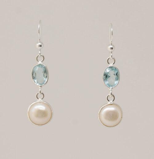 cercei argint cu topaz si perle